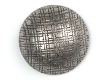 Shank button hemisphere with grid, old silver, Ø 19 mm