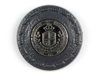 Shank button leather coated with coat of arms, black, Ø 20 mm