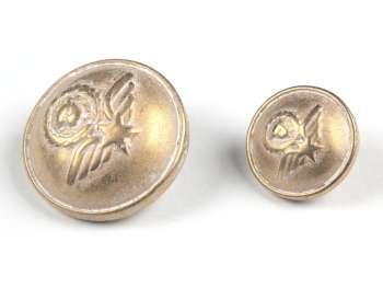 Shank button Coat of Arms, mat gold, Ø 15 mm