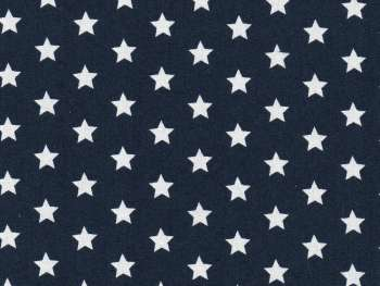 navy blue cotton fabric with white stars